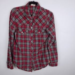 Roxy Red Snap Flannel, M